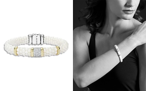 LAGOS White Caviar Ceramic 18K Gold and Sterling Silver Square Station Bracelet with Diamonds - Bloomingdale's_2